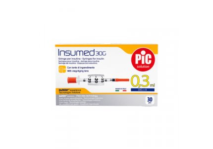 PIC Insumed Strzykawka insulinowa-0,3 ml 30G x 8 mm