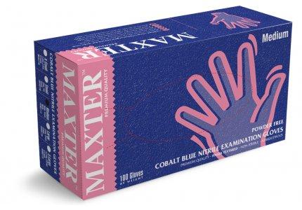 MAXTER rękawice nitrylowe bezpudrowe r. M - COBALT