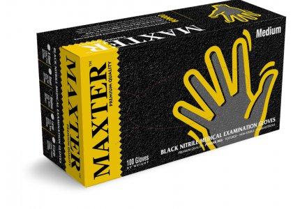 MAXTER rękawice nitrylowe czarne PF r. L - Grube