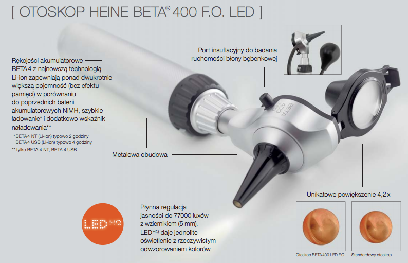 Zalety otoskopu HEINE BETA 400 LED HQ