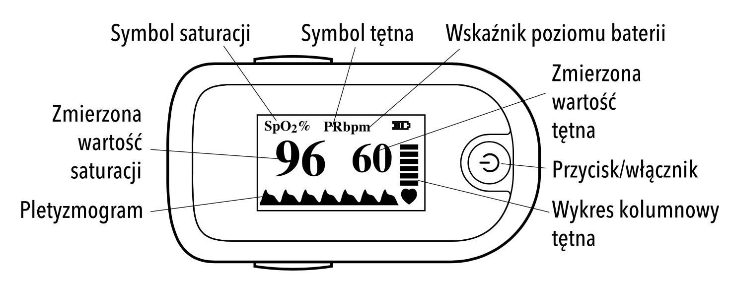 Schemat pulsoksymetru VITAMMY o2 connect BLUETOOTH z ekranem OLED - widok z góry