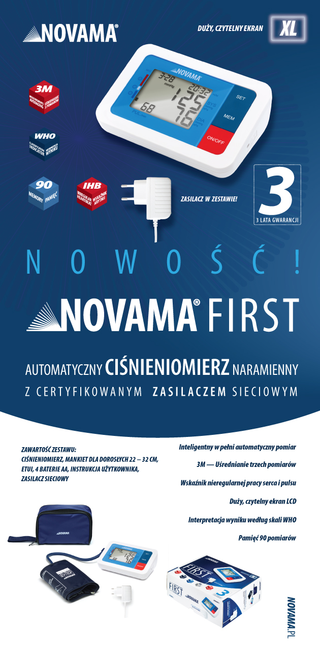 Ciśnieniomierz automatyczny NOVAMA FIRST z zasilaczem